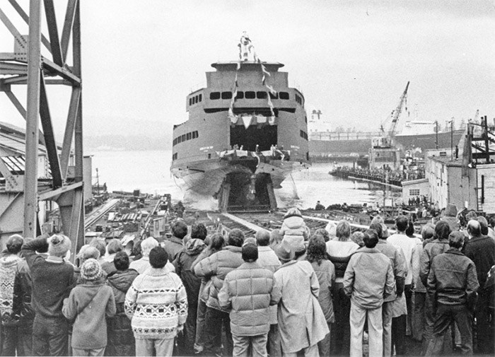 The Queen of Oak Bay drew a crowd in Victoria when it was launched Nov. 30, 1980, by the Burrard Yarrows Corp.