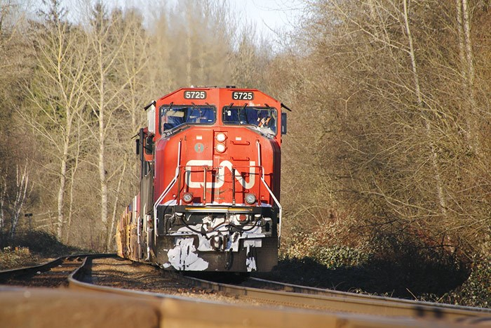 About 3,200 Canadian National Railway conductors, trainpersons and yard workers are on strike as of Tues, Nov. 19, 2019. Photo: A CN Rail train near Abbotsford. Photo Shutterstock
