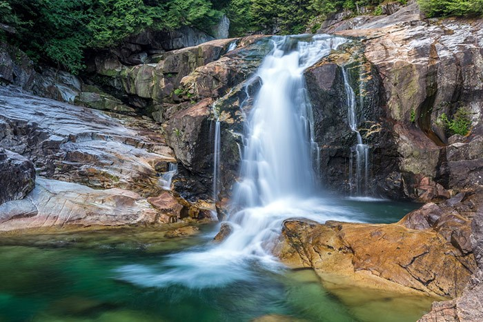 Lower Falls on Gold Creek in Golden Ears Provincial Park. It's unclear if this is the waterfall the men were swept off of. Photo Shutterstock