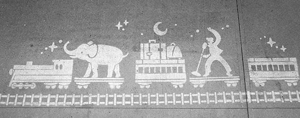 Train image on sidewalk, City of White Rock by Jeff Kulack, designer