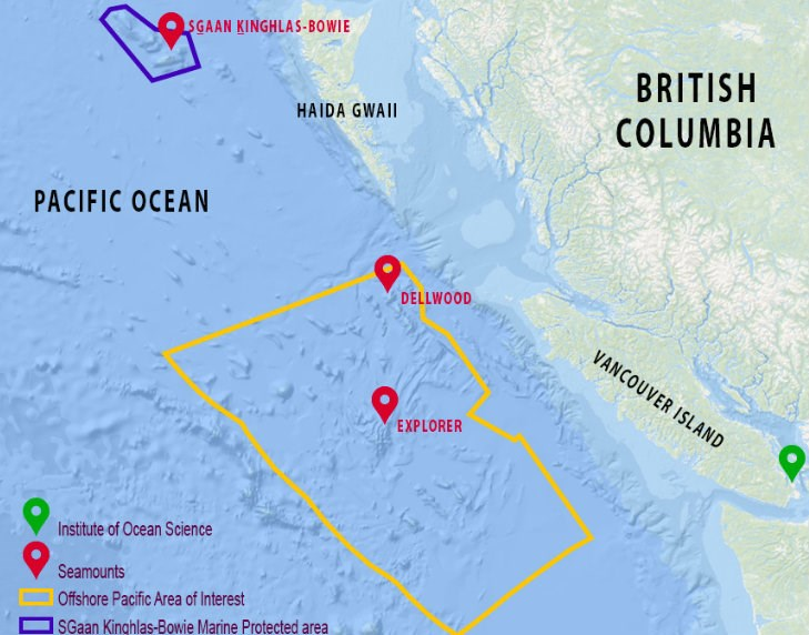 The Northeast Pacific Seamounts Expedition focused on three seamounts: SGaan Kinghlas-Bowie, Dellwood and Explorer Map: Northeast Pacific Seamounts Expedition