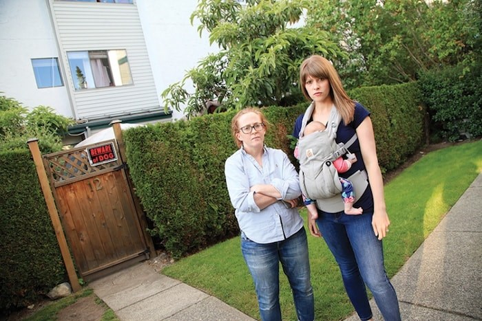 This file photo shows Maeve Chamberlaine and Erin Wasney, who have said they and their neighbours are exasperated after trying to shut down an 15-bed hostel within their townhouse complex. Photo by Kevin Hill/North Shore News