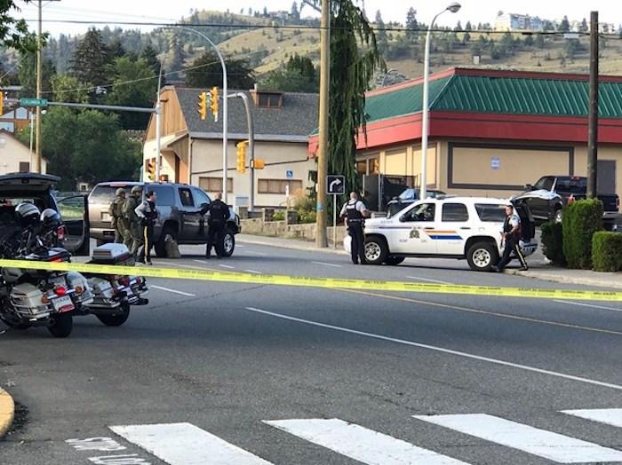 Police on scene at Denny's, at Columbia Street and Sixth Avenue. (via Tereza Verenca)