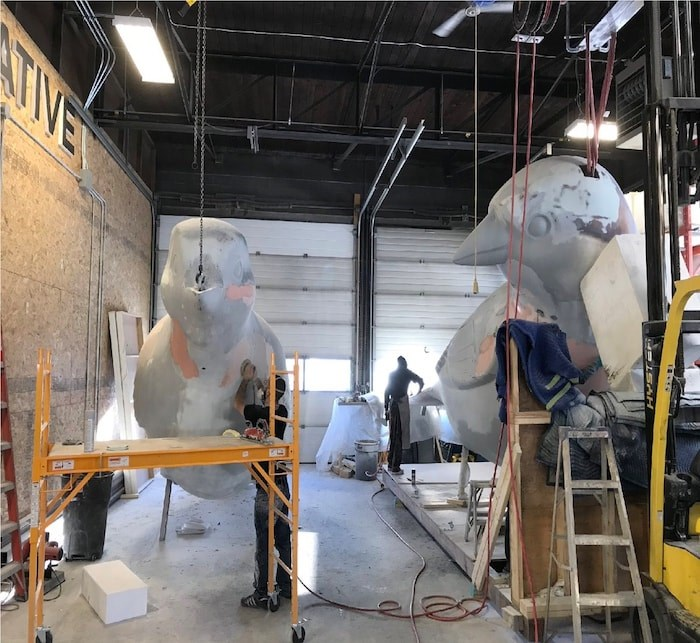 The Birds sculptures, which had to be removed from Olympic Village last November and sent to Calgary and China for repairs, are currently in Calgary getting a fresh coat of paint before returning to Vancouver. Photo courtesy City of Vancouver