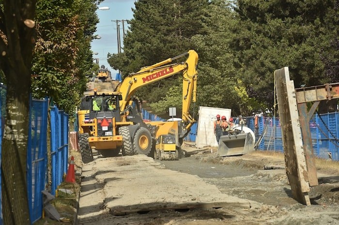 FortisBC's work to replace a gasline continues this week with more closures. East First between Nanaimo and Clark Drive has been closed to traffic since July 3. The goal is to re-open the route by Aug. 31. Photo Dan Toulgoet