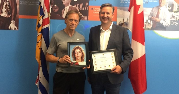 George Sojka (left) and Burnaby South MP Kennedy Stewart. (Photograph By CONTRIBUTED)