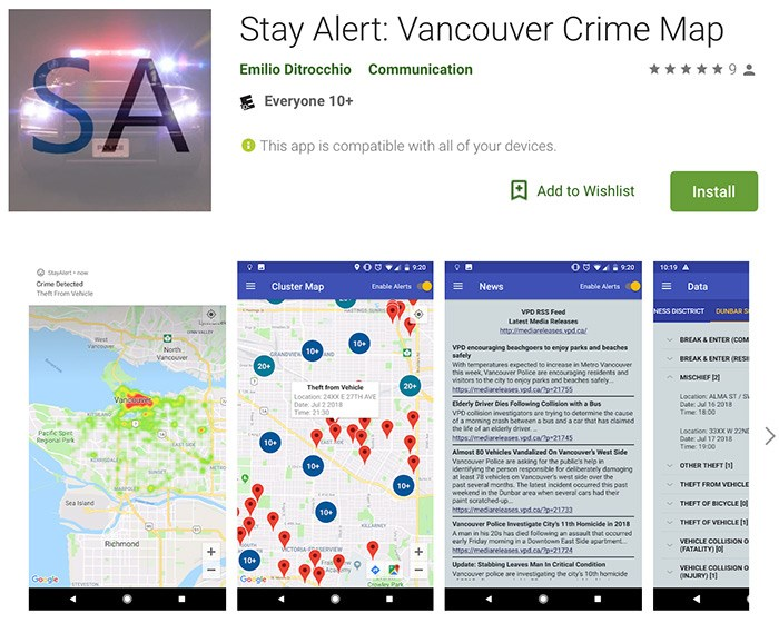 The Stay Alert Vancouver crime app as it appears in the Google Play store