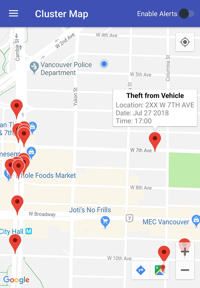 Recent crime near the Vancouver Is Awesome office, represented by the little blue dot near the police station. Screengrab