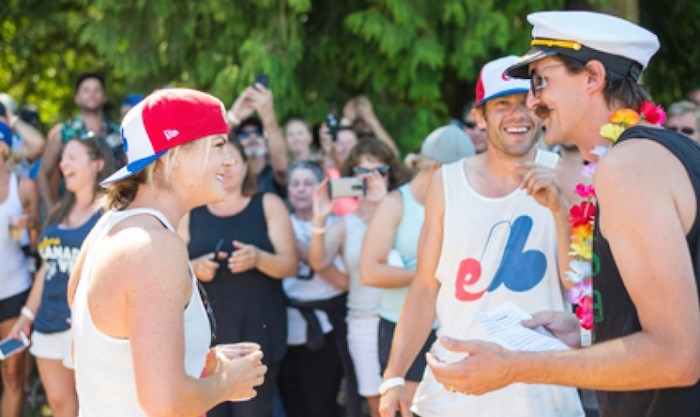 Hilary Spires and Andy Cunard, tied the knot inside the Tsawwassen Sun Festival beer garden on Sunday. The couple were married by friend Alex Elsey.