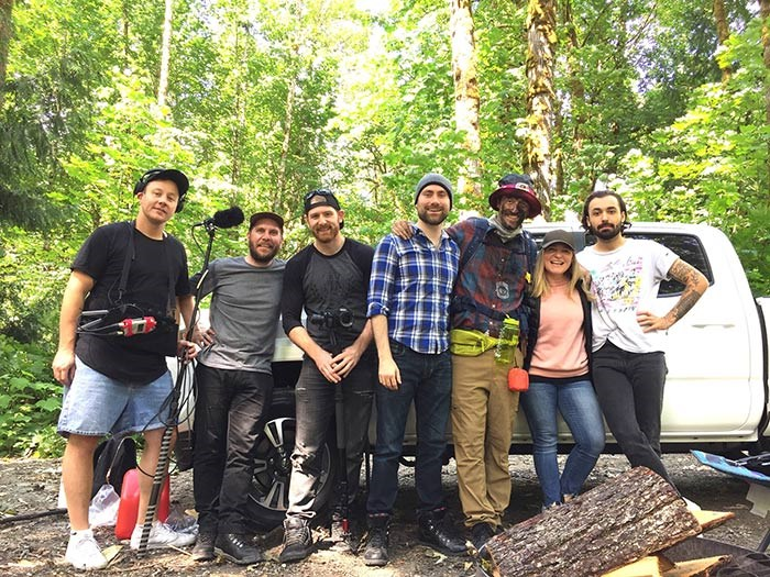 Our cast and crew on location in the Squamish Valley. L to R: Tristan Orchard, Bob Kronbauer, Matt Brascia, Andrew Job, Cameron Macleod, Meaghan Hommy, Adam Nanji