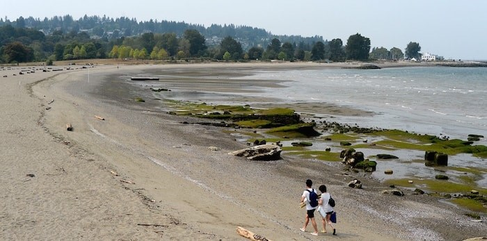 A mostly deserted Jericho Beach Monday afternoon. Vancouver Coastal Health issued a swimming advisory for Jericho, English Bay and Sunset beaches over the weekend after higher than normal levels of E. coli were detected. Photo Jennifer Gauthier