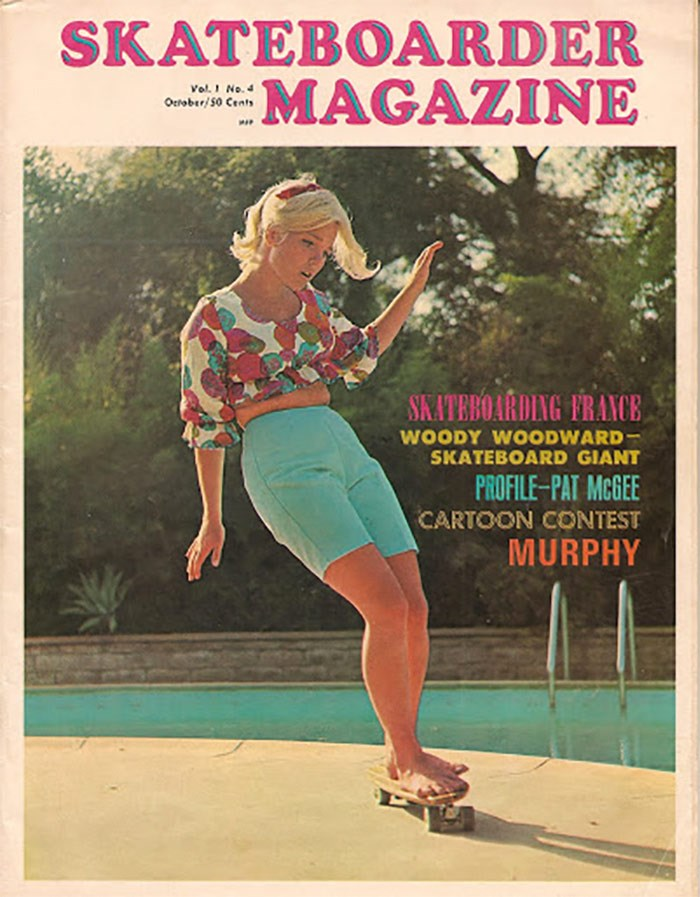 Patti McGee on the cover of the 4th issue of Skateboarder Magazine, 1965