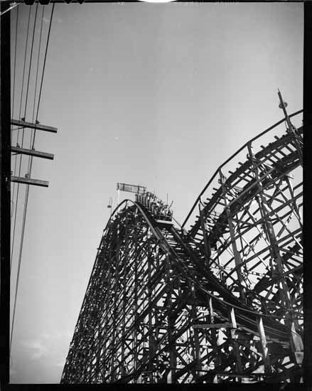 The giant roller coaster at Playland in the 1950s (Vancouver Public Library)