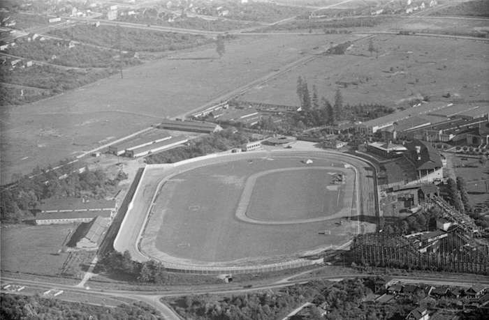 Aerial view of Hastings Park and the PNE/Playland grounds, 1936 (Vancouver Archives)