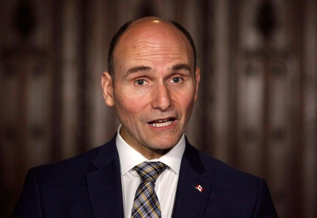 Social Development Minister Jean-Yves Duclos announces how the government will help parents of young victims of crime at a press conference on Parliament Hill in Ottawa on May 25, 2018. A long-anticipated plan to fight poverty in Canada will vow to lift more than two million Canadians above the poverty line over the next decade and send the poverty rate to a historic low, a source with knowledge of the plan says. THE CANADIAN PRESS/ Patrick Doyle