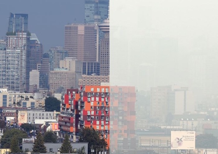 The photo on the left was taken on Aug. 17 near the north end of Commercial Drive looking west towards downtown. The photo on the right was taken from the same vantage point on Aug. 20. Photograph By JENNIFER GAUTHIER
