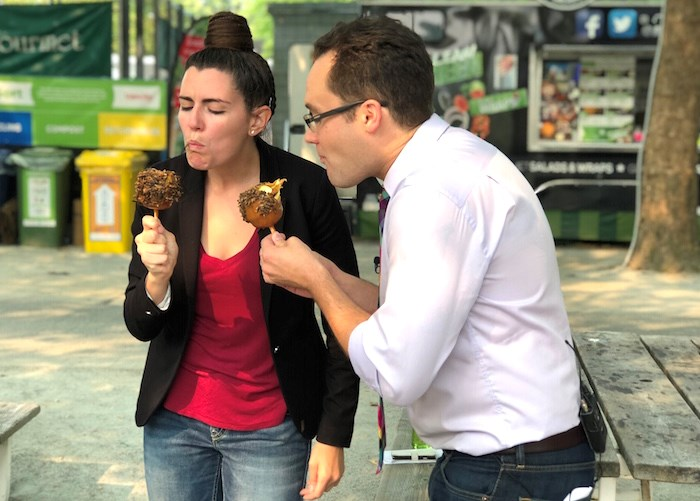 Woud you eat a caramel apple coated in crickets? They did! (Lindsay William-Ross/Vancouver Is Awesome)