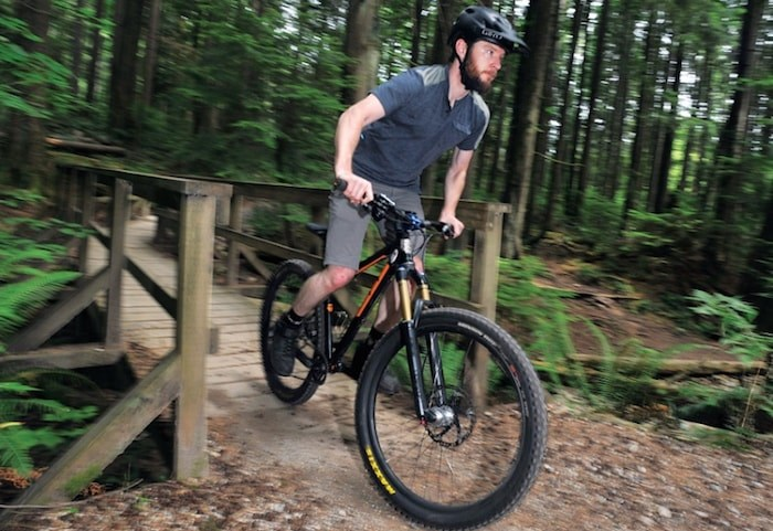 North Shore Mountain Bike Association vice-president Cooper Quinn takes to two wheels to explore one of the Seymour area's many multi-use trails. photo Paul McGrath, North Shore News