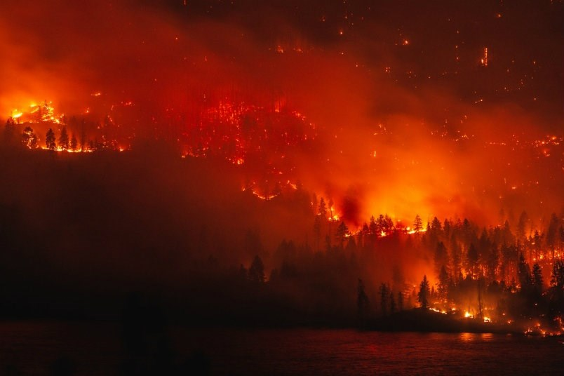The Goode's Creek wildfire in the Okanagan as seen in late July.