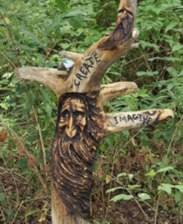 A mystery artist has created a series of wood carvings that have sparked great interest on social media.