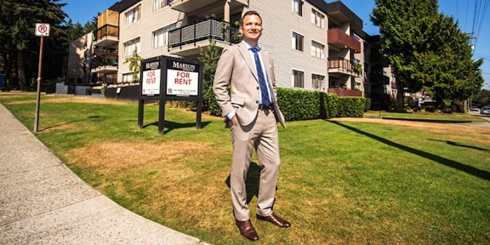 David Venance, vice-president of JLL and a multi-family specialist, at a 42-unit, 48-year-old Coquitlam rental apartment building his team sold this summer for the equivalent of more than $138,000 per suite. (Photo: Chung Chow)