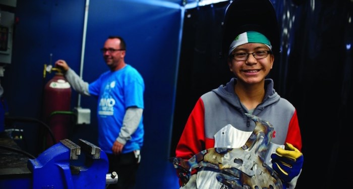 Mark Stevens, 13, was one of the participants in a recent workshop at the Kitimat Vocational Institute aimed at getting First Nations children interested in welding. Photo:?lng canada