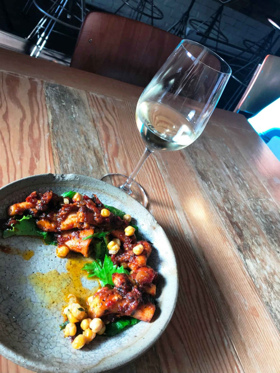 Spicy octopus at Burdock & Co. Photo Sandra Thomas