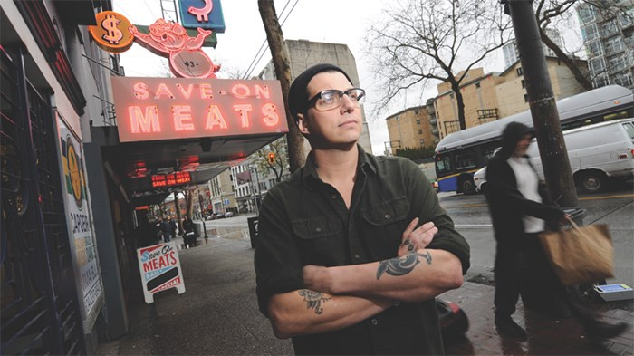 Mark Brand outside his Save On Meats restaurant and butcher shop. Photo Dominic Schaefer