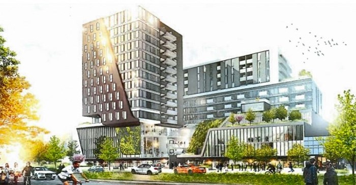 For a 52,000-sq.-ft. site between the two major developments (6560-6700 No. 3 Road), the City of Richmond has also received a rezoning application and a proposal to construct two residential towers | Dialog Architecture photo