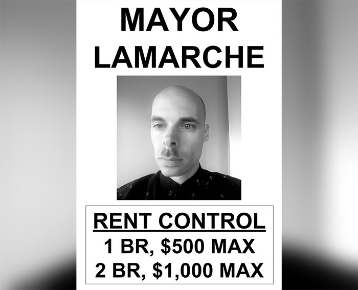 The first joke candidate seems to have entered the race, touting rent control of $500 on one bedroom apartments as part of his platform. Screengrab