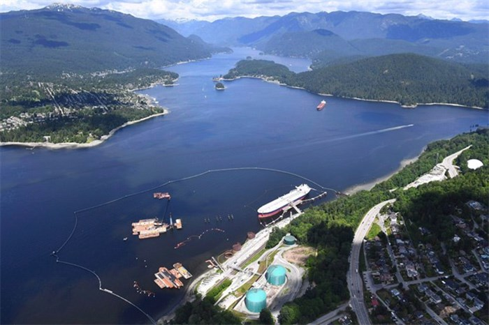 An aerial view of Kinder Morgan's Trans Mountain marine terminal, in Burnaby, B.C., is shown on Tuesday, May 29, 2018. THE CANADIAN PRESS Jonathan Hayward