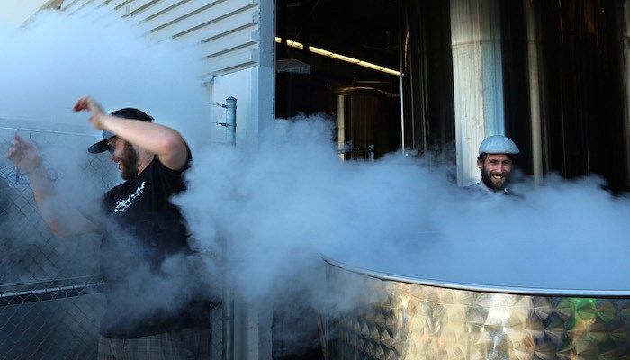 New Westminster'ss Steel & Oak Brewing made their Steinbier Lager by plunging superheated rocks into the unfermented beer in order to boil it—a method that was commonplace hundreds of years ago. (Photo courtesy Steel & Oak)