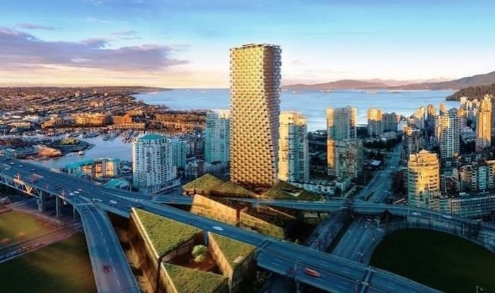 Vancouver House is due to be completed in 2019 and is designed in a top-heavy, twisting fashion by Danish 'starchitect' Bjarke Ingels. Listing agent: Karim Virani