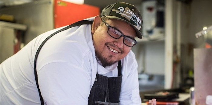 Chef Paul Natrall poses for a photograph in the trailer where he operates his catering business on the Squamish First Nation, in North Vancouver, B.C., on Friday September 21, 2018. Since he started serving Indigenous cuisine from his Mr. Bannock food truck in Vancouver nearly a year ago, the chef has hired several employees for his in-demand fusion food business. In recent years, Indigenous-owned eateries like his have emerged in many Canadian cities serving traditional foods like bannock and buffalo. THE CANADIAN PRESS/Darryl Dyck