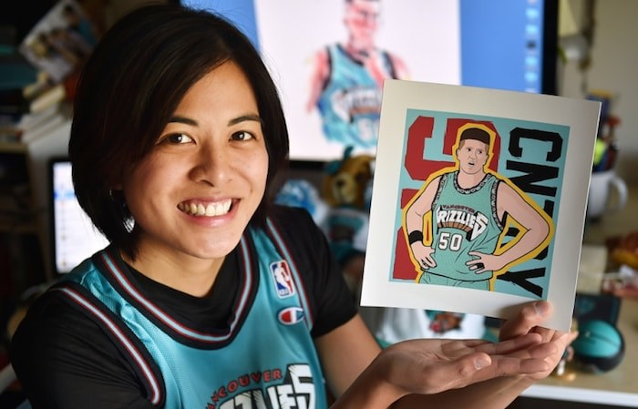 Kat Jayme, writer and director of the film Finding Big Country, with some of her memorabilia from the Vancouver Grizzlies' six-year run in town. Photo by Dan Toulgoet