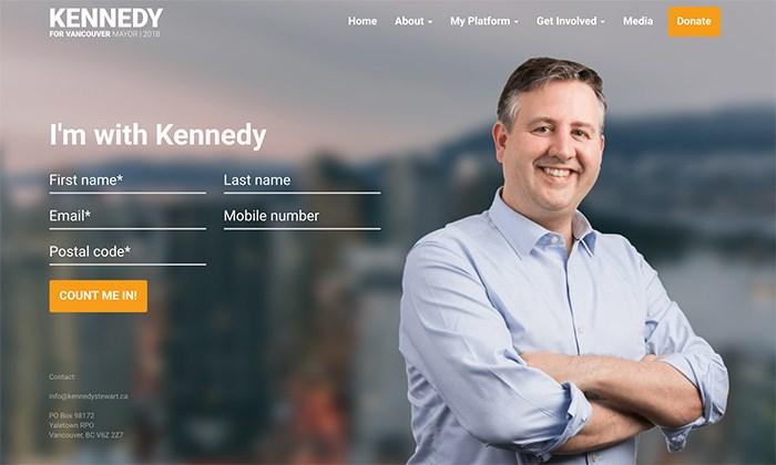 Screen grab from kennedystewart.ca