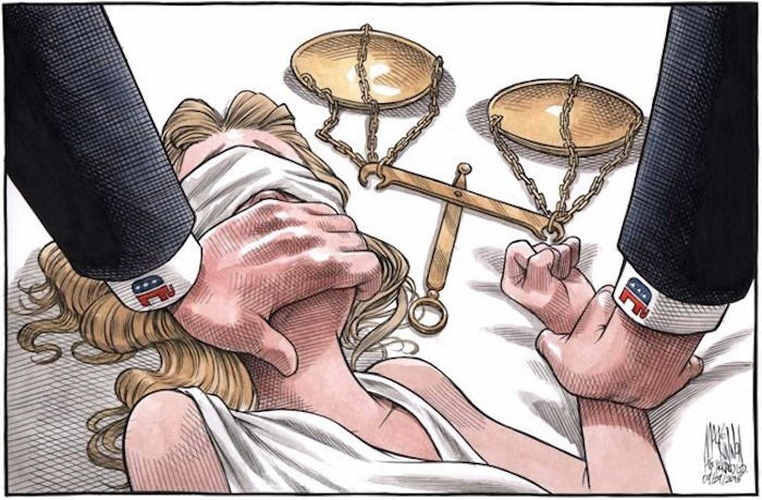 A powerful political cartoon depicting the assault of Lady Justice has gone viral in the wake of recent allegations against Supreme Court nominee Brett Kavanaugh. The graphic image, seen here, shows her blindfolded and pinned down as her scales lie beside her, one hand covering her mouth -- an explicit reference to how California professor Christine Blasey Ford described an alleged sexual assault by Kavanaugh when they were both in high school in 1982. THE CANADIAN PRESS/HO-The Halifax Chronicle Herald, Bruce MacKinnon