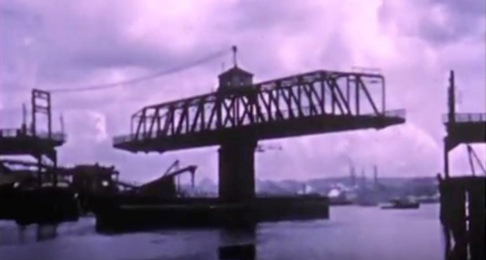 The second Granville Bridge and its swing span (Screenshot/YouTube)