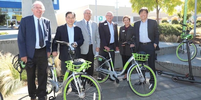 Mayor Malcolm Boride (third from left) and Coun. Ken Johnston (left), Chak Au, Bill McNulty, Linda Mcphail and Derek Dang attended Friday's announcement. Photo submitted