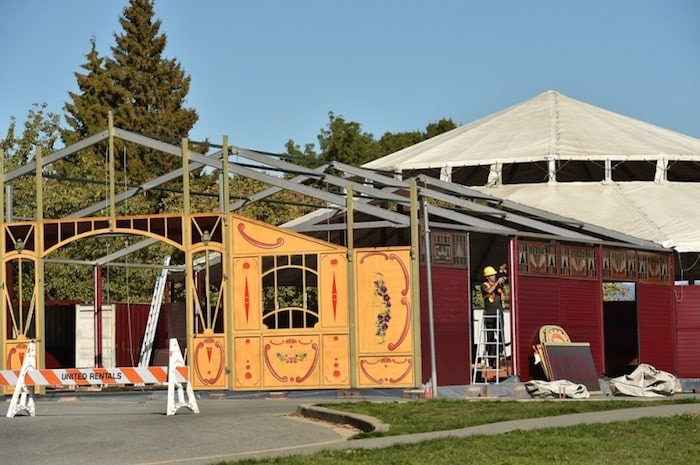 Set-up for the Bacio Rosso gourmet cirque cabaret show is currently underway in Queen Elizabeth Park's south parking lot near the public tennis courts. Photo Dan Toulgoet