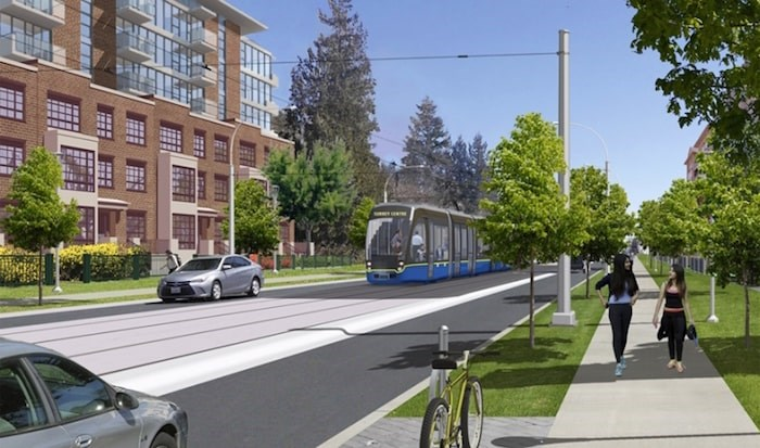 Anticipation of the light-rail transit line linking Newton with central Surrey has helped drive the cost of land zoned for higher-density multi-family in the transit corridor above $4 million per acre. (Surrey City Development)