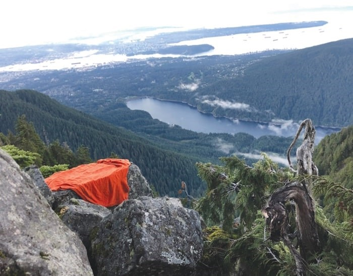 The cliff ledge overlooking the Capilano Lake where a hiker was stranded overnight Monday. photo supplied