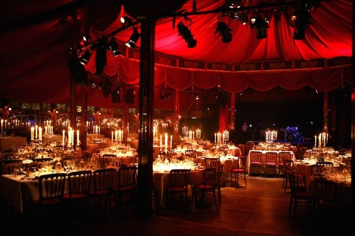 The interior of the spiegeltent where Bacio Rosso takes place is lush red velvet lined with 2,000 bevelled mirrors. Photo Bacio Rosso
