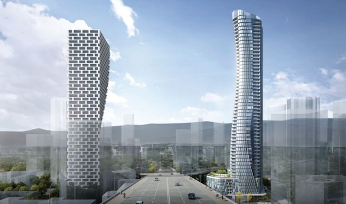 Pinnacle International has filed a rezoning application for 601 Beach Crescent, the 54-storey building on the left. Along with Vancouver House, it would create the new