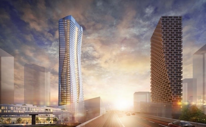 Artist rendering of 601 Beach Crescent and Vancouver House, looking south-west across Granville Bridge. Image: Pinnacle International/GBL Architects