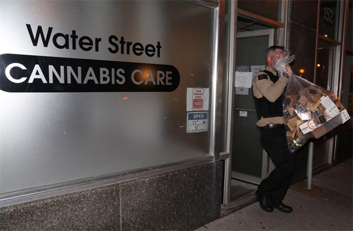 Cannabis Care, an unlicensed cannabis dispensary in St. John's N.L. was raided by the RNC and inspectors from the Newfoundland and Labrador Liquor Corp on Thursday, October 18, 2018. The downtown store which opened earlier this year was not approved to legally sell cannabis. THE CANADIAN PRESS/Paul Daly