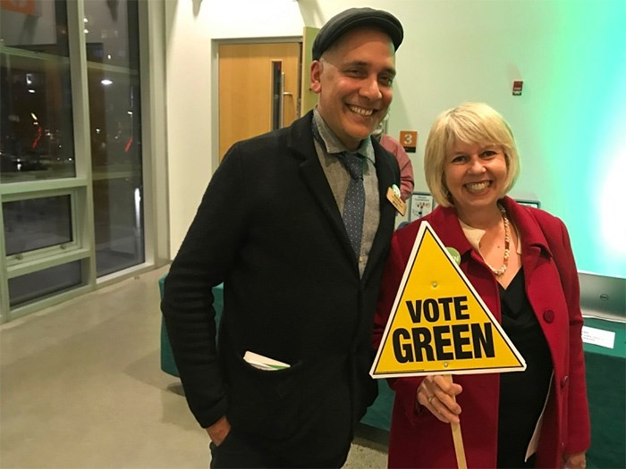 Green Party candidates Pete Fry and Adriane Carr were the top vote getters in the council race. In total nine of the party's candidates were elected to council, park board and school board. Photo Naoibh O'Connor