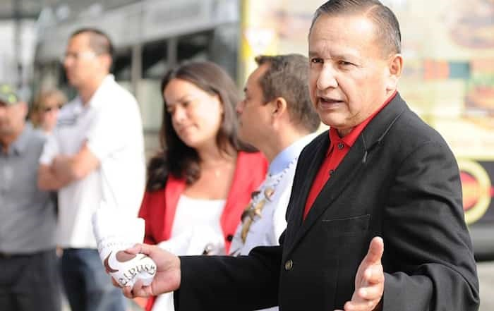Grand Chief Stewart Phillip, president of the Union of British Columbia Indian Chiefs, will receive an honorary Doctor of Laws degree from the University of B.C. next month, along with actor Kim Cattrall and Peter Trudgill, a sociolinguist. Photo Dan Toulgoet