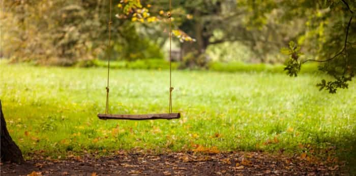 Photo: Empty swing placed in the garden / Shutterstock