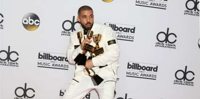 LAS VEGAS - MAY 21: Drake at the 2017 Billboard Awards Press Room at the T-Mobile Arena on May 21, 2017 in Las Vegas, NV / Shutterstock
